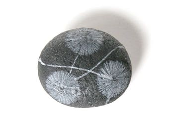 Black and White Floral Stone
