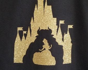 Beauty and the Beast inpired glitter shirt