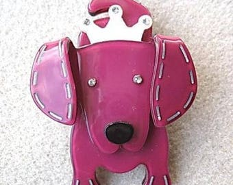 Quirky and Cute Pink and White Lucite? & Crystal Dog Brooch