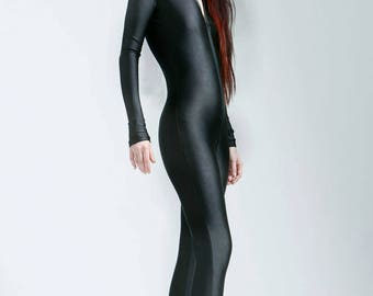 Heavyweight Scuba Knit Black Hoodless Bodysuit Great For Cold Weather - Free Shipping