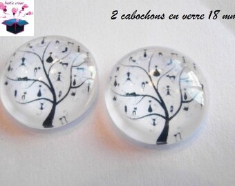 2 glass cabochons domed 18mm tree black cat theme