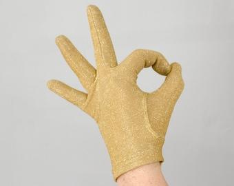 1960s vintage gloves / gold lamé short gloves