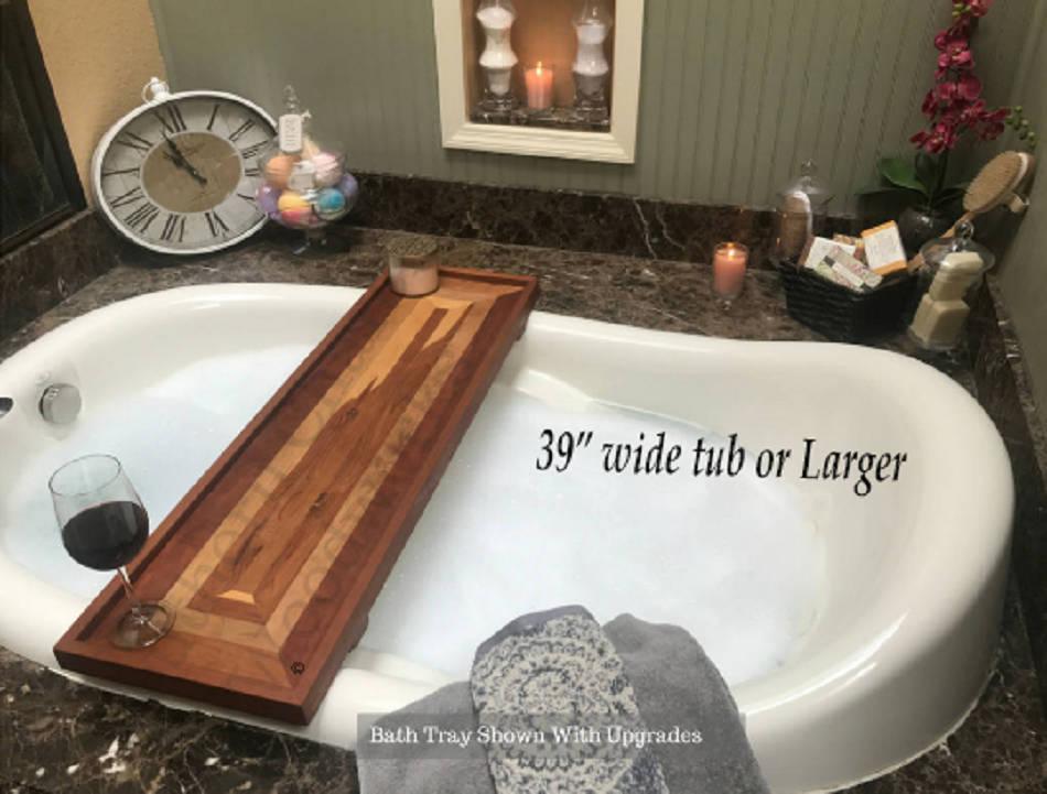 Wood Bathtub Tray Listing for 39-49 Tubs / Bath Caddy / Bathtub Tray ...