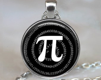 Pi necklace, math pendant, math geek gift math teacher gift Pi jewelry Pi pendant math student gift mathematics key chain key ring key fob