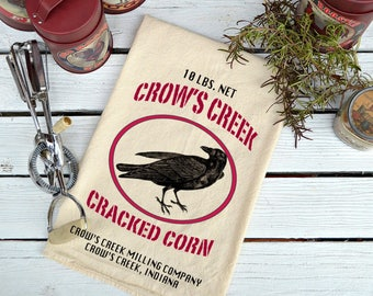 Flour Sack Towel, Feed Sack Towel,  Kitchen Towel, Cotton Towel, Crow Towel, Black Crow Dish Towel, Tea Towel, Crow's Creek Cracked Corn