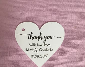 Personalised wedding favour Tags ,Heart shaped Tags, Thank You , Favour Tags