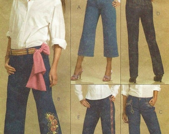 Womens Perfect Jeans McCalls Sewing Pattern M5142 Size 10 12 14 16 Hip 37 38 1/2 40 1/2 42 1/2 UnCut Palmer & Pletsch Relaxed Fit Jeans