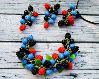 jewelery set, blackberry earring, raspberry bracelet, blueberry bracelet, rasberries earrings, blueberries jewerly set, blue bracelet
