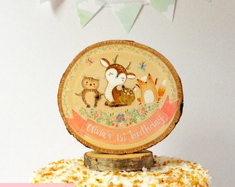Woodland Cake Topper,Woodland Animals,Childs Birthday,Birthday Cake Topper,Woodslice Cake Topper,Baby's 1st Birthday,Baby Shower Decor
