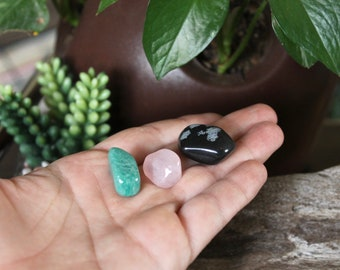 HARMONY SET Rose Quartz, Amazonite & Snowflake Obsidian Healing Stone Set of 3, Tumbled Stone Set, Healing Stone Kit, Wiccan Altar Supplies