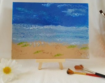 Calm Waters - Acrylic on 6x8 canvas panel with EASEL - FREE shipping to USA