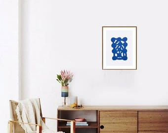 The Blue Abstract Sea, screen-printed, limited edition, hand made