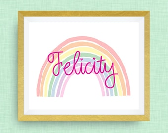 Rainbow Name Print- Custom Nursery Art - Pick your colors!