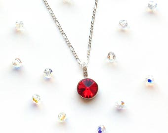 Swarovski Jewelry, Red Necklace for Women, Gift for Her, Red Necklace Pendant, Red Crystal Necklace, Gift for Girlfriend, July Birthstone