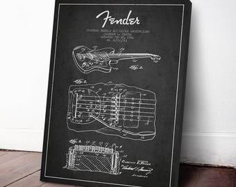 1961 Fender Tremolo Guitar Patent, Fender Art Print, Guitar Decor, Canvas Print, Wall Art, Home Decor, Gift Idea, MUIN26C