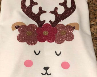 Reindeer shirt, girls Christmas shirt, personalized, holiday