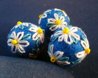 Pearl embroidered felted wool in white and blue