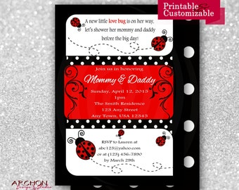 Ladybug Baby Shower Invitation with Polka Dot Back - Red, Black, and White Accented - Lady Bug - Printable & Personalized - A-00019-b