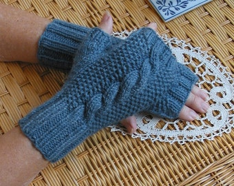 Fingerless Texting Gloves with Cable - Denim Jeans BLUE Pure Wool Hand Warmers