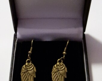 Antique Bronze Rose/Wings Earrings