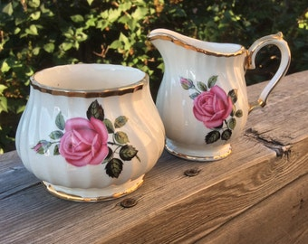 Pretty In Pink-Sadler Swirled Pink Rose Creamer and Sugar Bowl