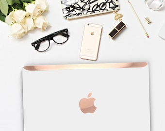 Macbook Pro 13 Case Macbook Air Case Laptop Case Macbook Decal White Pearl Pearlescent and Rose Gold Chrome Edge Detailing