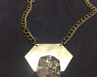 Aquila Pyrite Geometric Brass and Sterling Silver Necklace with Brass Chain