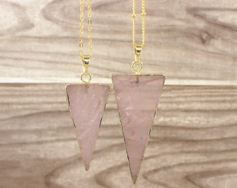 Natural Rose Quartz Triangle Pendant // Healing Gemstone Crystal Quartz Pendant Charm // Gold Pink Stone Pendant Necklace (SD85_12)