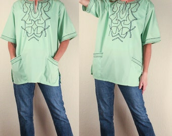 70's Lime Green Dashiki, Embroidered Ethnic Tribal South American Top, Size Large