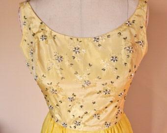 1960s prom wedding gown brocade beaded bodice sheath style voile over taffeta skirt