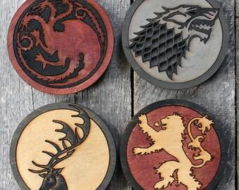Game of Thrones 4-Piece Wood Coaster Set   Rustic/Vintage   Hand Stained and Glued   Stark   Targaryen   Lannister   Baratheon   Sigil