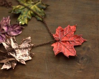 Real canadian maple leaves multicolored, metal pendant, electroformed leaf, copper electroform, maple leaf pendant, botanical jewelry