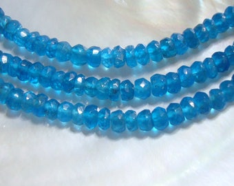 1/2 stand, 4-4.5mm, Neon Blue Apatite Faceted Small Rondelle - R2