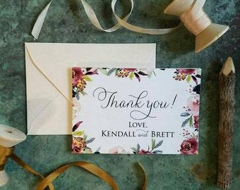 Floral Wedding Thank you Cards - Set of 10 - Personalized cards - Thank you - Wedding - Wedding Cards - Bridal Shower - BlushandBirchPaper