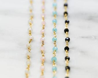Aqua Chalcedony Rosary Choker Necklace / Beaded Choker Necklace / Aqua Beaded Choker / Bead Choker