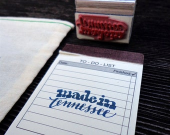 made in Tennessee Rubber Stamp, Modern Calligraphy Stamp, Handwritten Stamp, made in America, Maker Stamp, Handmade Branding