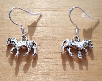 Zebra Earrings, Animal Earrings, Charm Earrings, Jewelry Findings