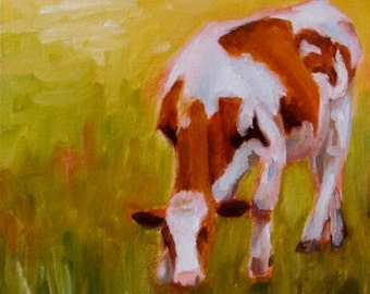 Cow Painting Original OIL Painting by CES - Cow Artwork Country Decor Farmhouse Decor Mini Oil Painting Farm Wall ART Farmhouse Wall Decor