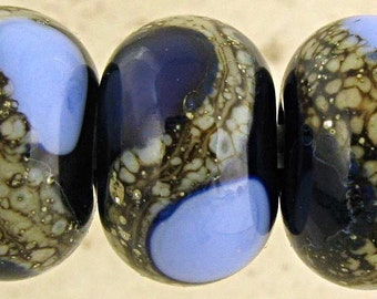 Blue Glass Lampwork Bead Set of 6 with Silvered Ivory Accents Small 11x7mm Midnight and Periwinkle