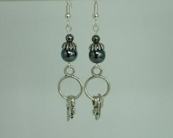 Hematite Beaded Key Charm Earrings