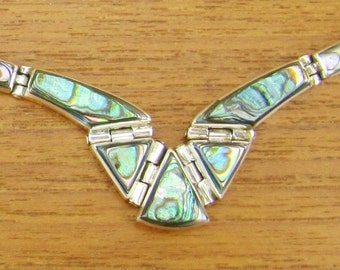 Sterling Vintage Mexican Necklace Abalone insets, Silver jewelry hinged hand made 925 Mexico