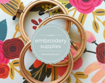 """3"""" embroidery hoops - set of 3  - embroidery supply - wooden hoop 3 """""""