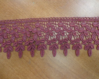 "Rayon Venice Lace Trim in Burgundy/Grey (Per yd), 3 1/2"" Wide"