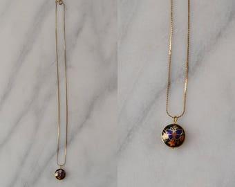 1970s Cloisonne Necklace / vintage gold necklace