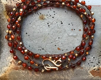 Carnelian and Gold beaded crochet wrap bracelet/necklace