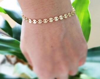 Gold Coin Bracelet,Gold Disc Bracelet,Gold Filled Bracelet,Gold Chain Bracelet,Bridesmaid Bracelet,Gold Layering Bracelet,Gift For Her
