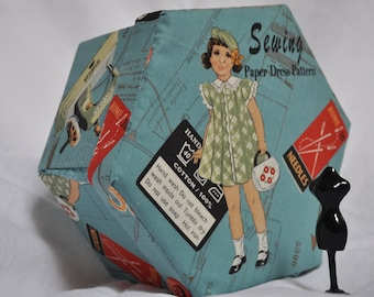 Hexagonal Sewing Box - Fabric Covered Cartonnage - 'VIntage Sewing Pattern'