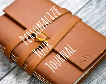 50% OFF - Personalized Premium Leather Journal with Initials Name Date