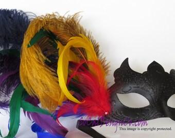 Black Mask, Rainbow Mask, Feather Masks, Masquerade Masks, Masquerade Ball Mask, Masquerade Mask, Venetian Mask, Feather Mask