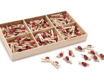 Ladybug Wooden Clothespins 40 pcs